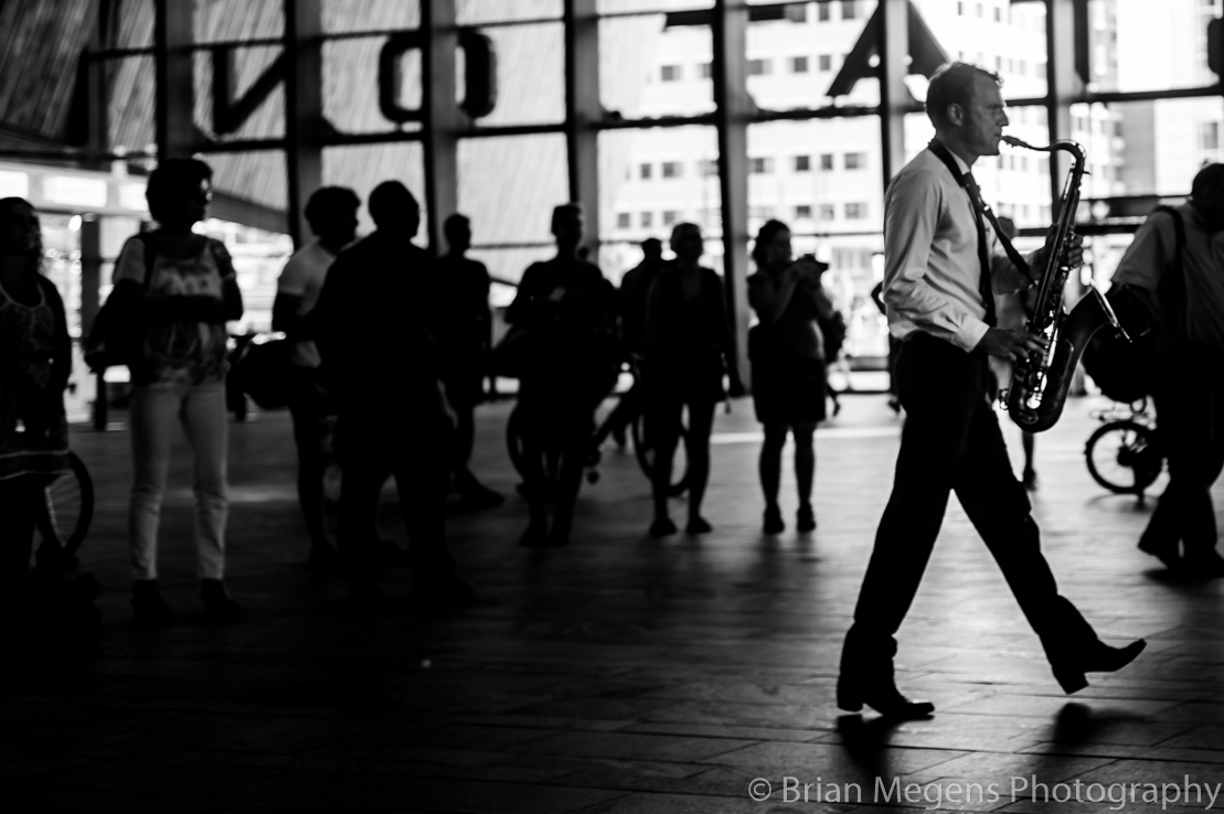 Playing the Saxophone at Rotterdam Central Station