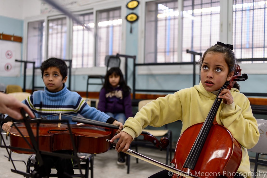 Maria 8 yrs, sister of Reem in the Musicians Without Borders class.